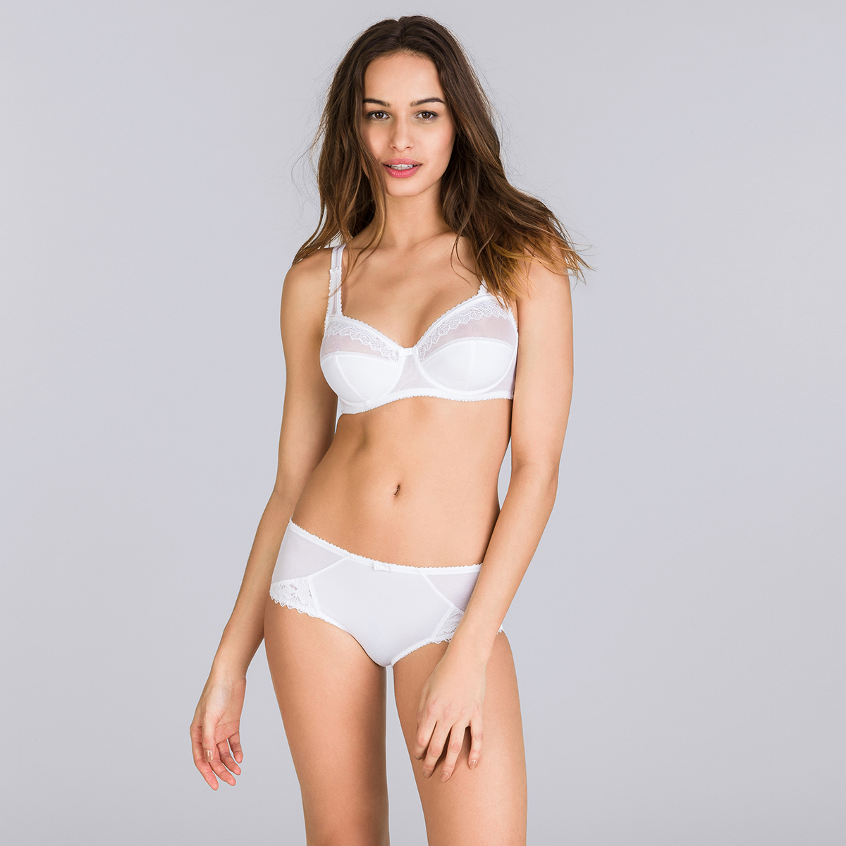 Midi Knickers in White – Classic Lace Support, , PLAYTEX
