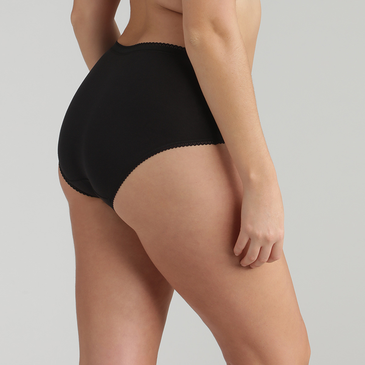 Pack de 2 bragas midi negras Coton Stretch, , PLAYTEX