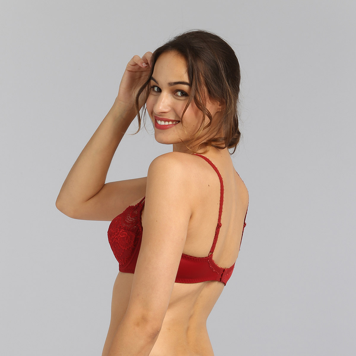 Sujetador balconette rojo carmín Flower Elegance, , PLAYTEX