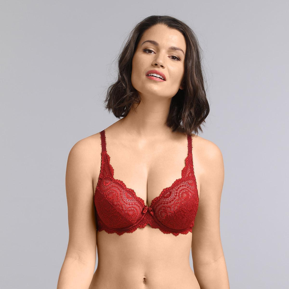 Underwired bra in dark red Flower Elegance, , PLAYTEX