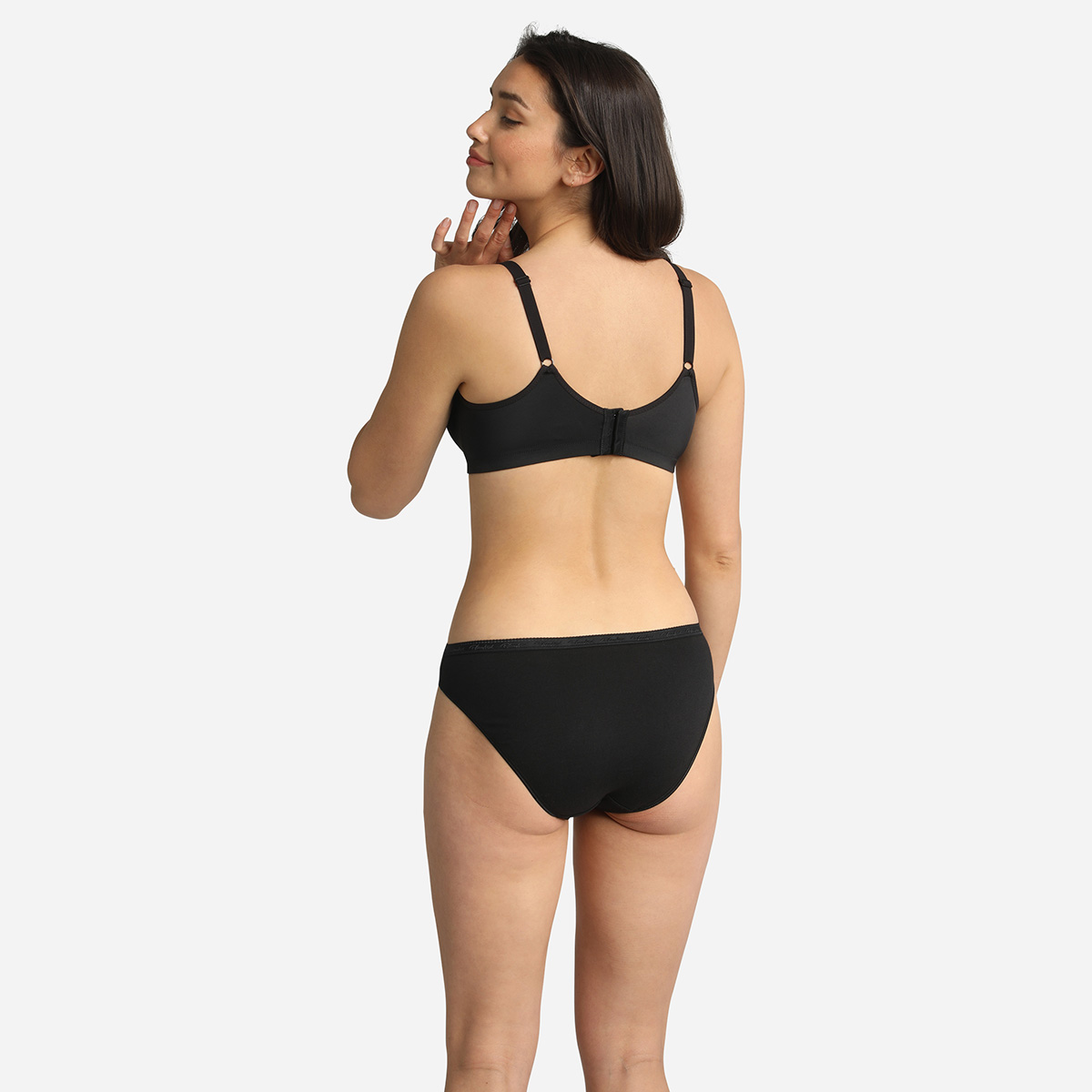 2 pack of black high waist knickers in organic cotton, , PLAYTEX
