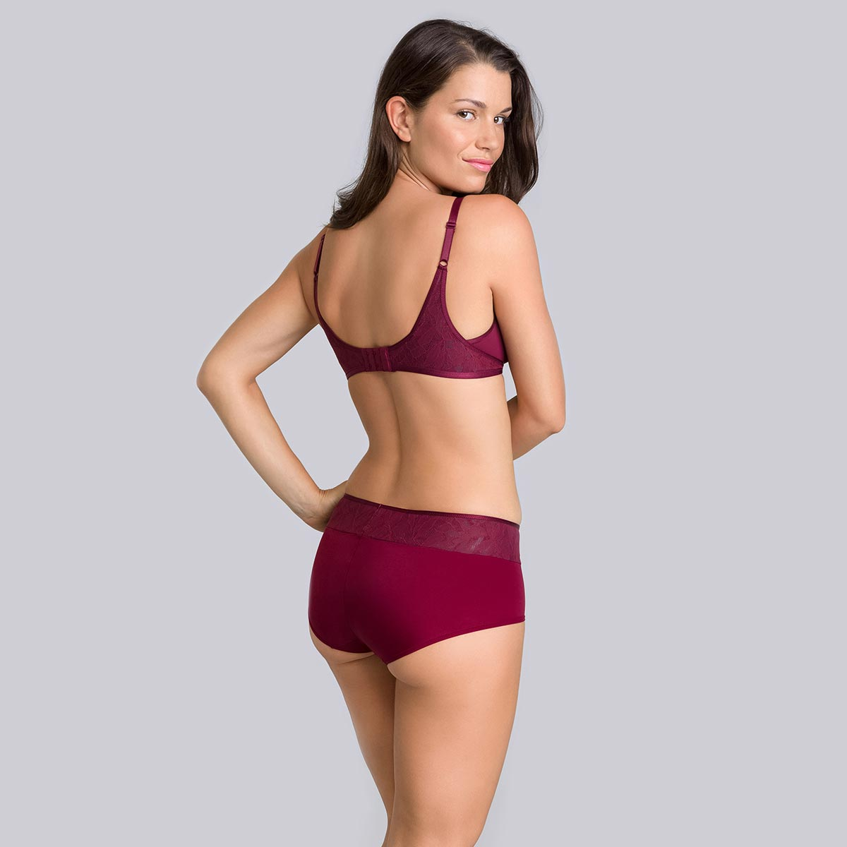 Burgundy grey boy shorts - Ideal Beauty Lace-PLAYTEX