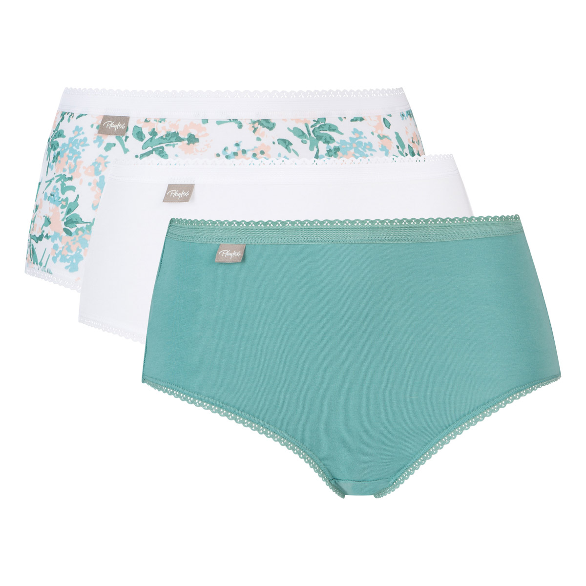 3 pack of midi knickers in green, white & flower print Cotton Stretch, , PLAYTEX