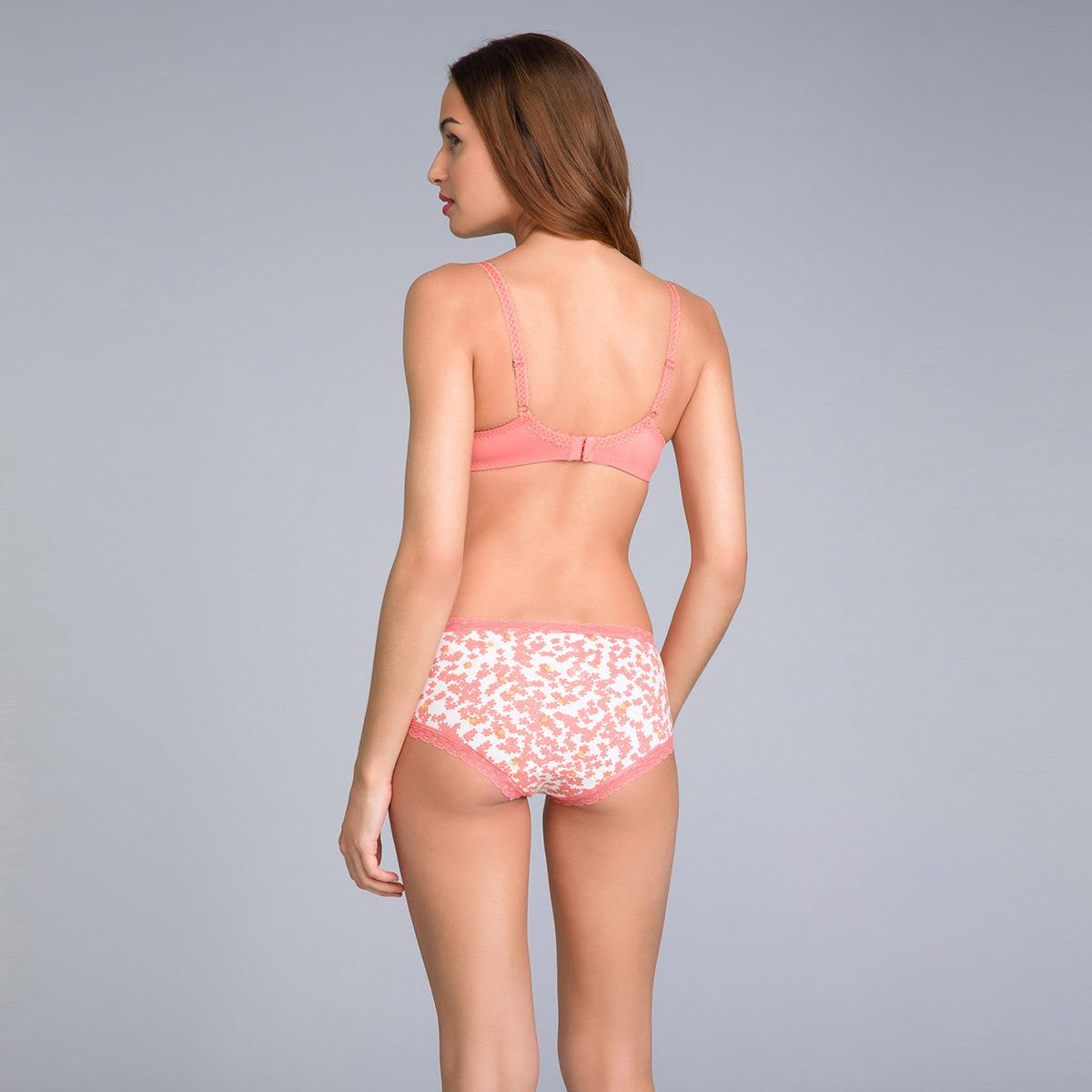 Lot de 2 boxers femme coton orange uni et imprimé - Basic Cotton Fancy, , PLAYTEX