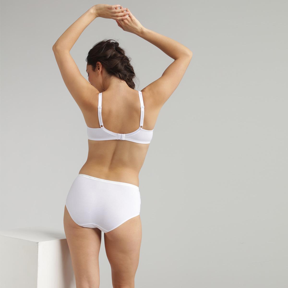 Non-wired cotton bra in white Cotton Support, , PLAYTEX
