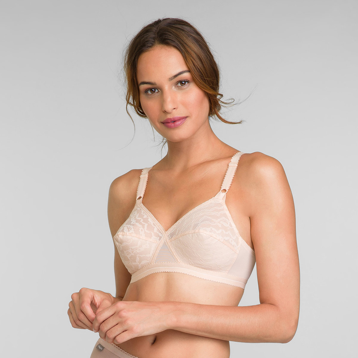 2 Pack of Non Wired Bras in White / Nude Cross Your Heart 165, , PLAYTEX