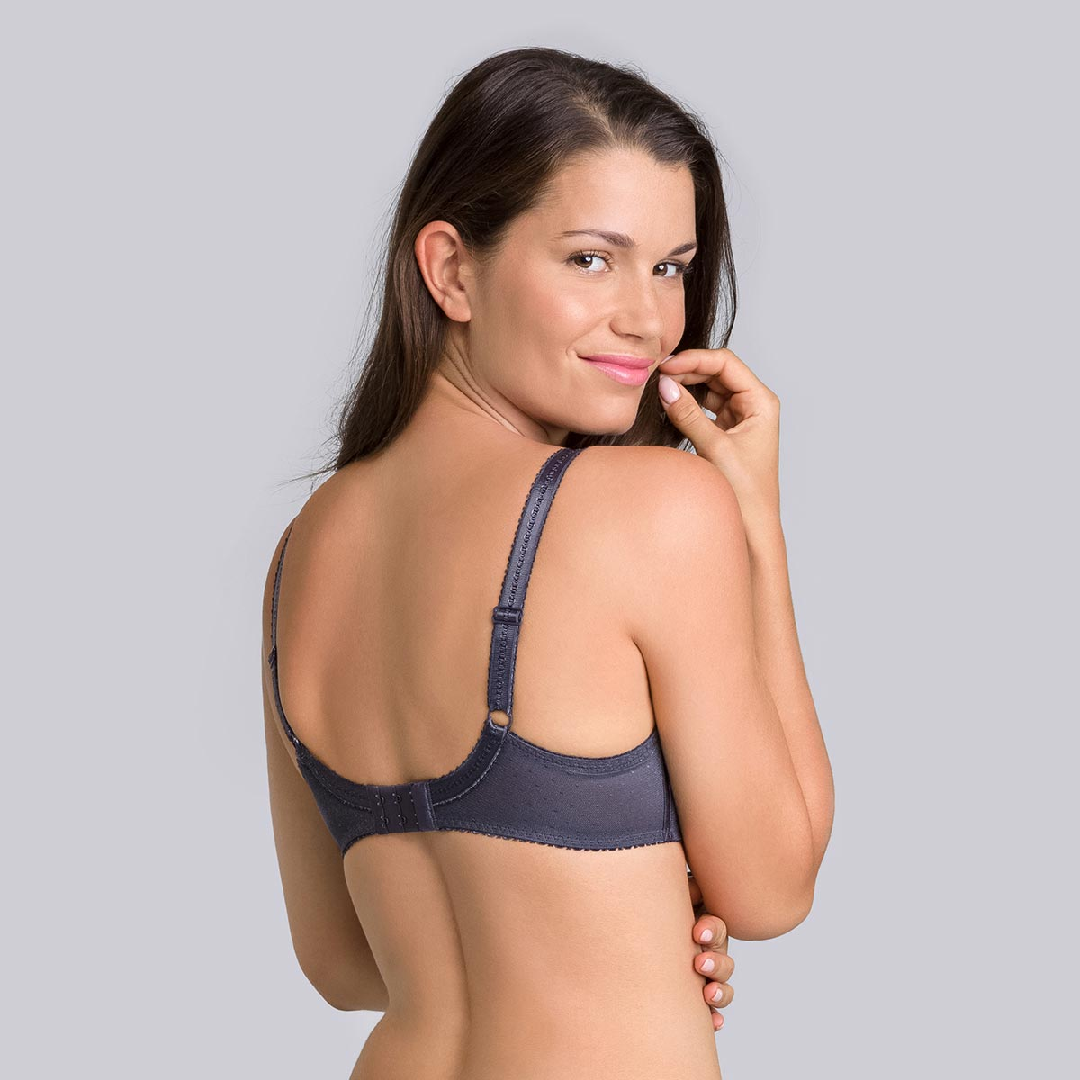 Steel grey Classic Lace Support underwired bra-PLAYTEX